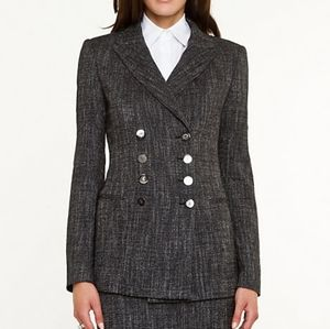 Le Chateau Grey Tweed Double Breasted Blazer Sz S